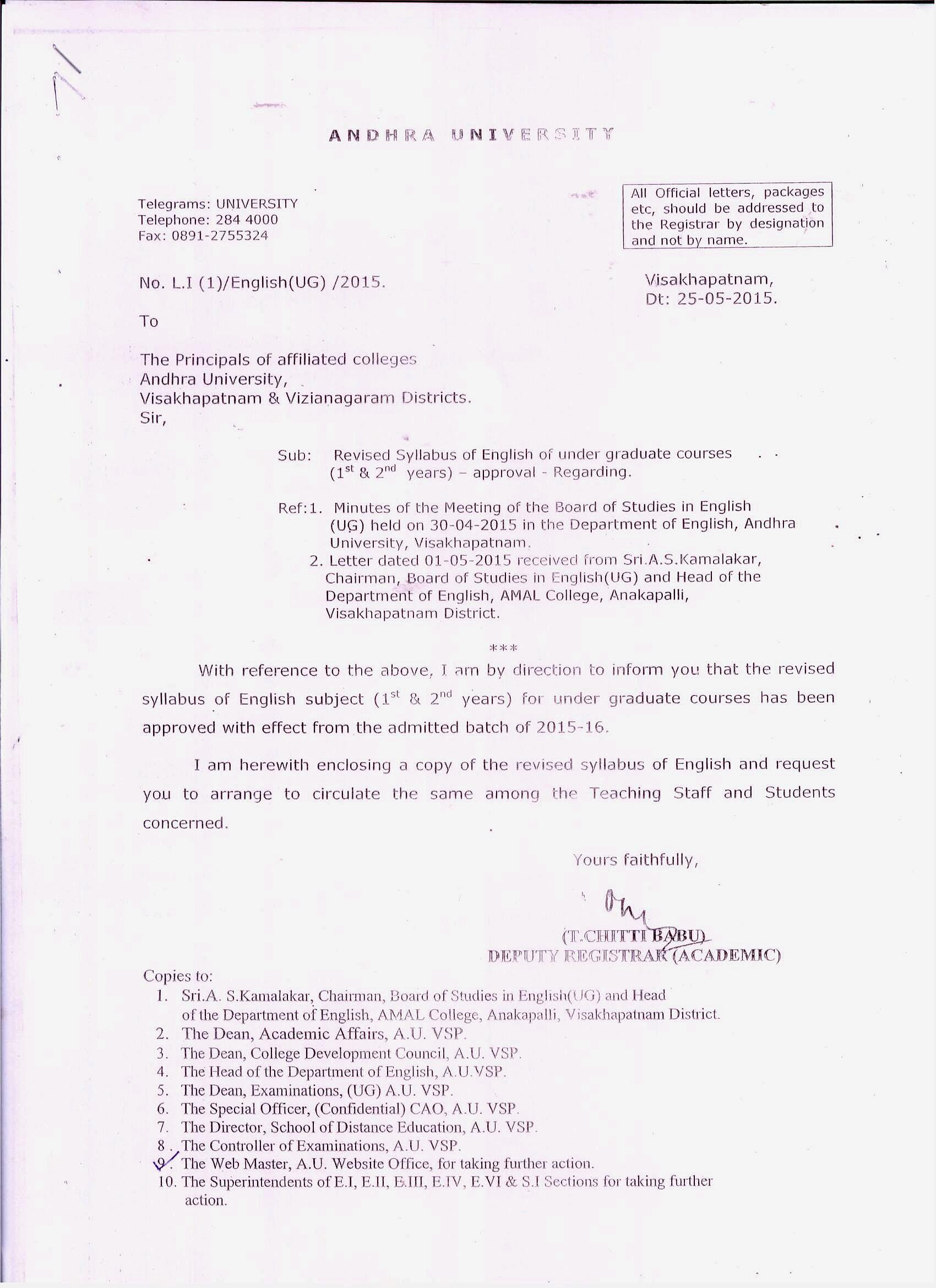 Andhra University | UG and PG Syllabus